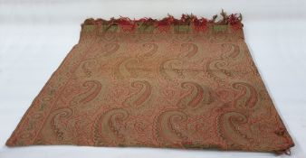 Large paisley shawl with green, black, red and white fringe ( some fraying in the centre)
