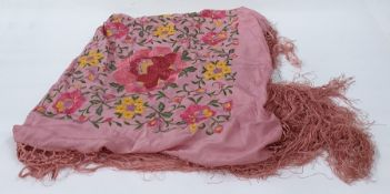 Extra large Chinese embroidered pale pink shawl heavily embroidered with flowers, etc