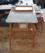 Mid-20th century melamine topped kitchen table together with folding stand (2)