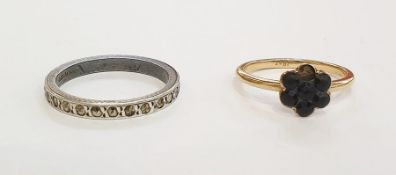 18ct gold and black stone cluster dress ring(one stone missing), possibly jet anda silver and