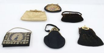 Various vintage evening bags including brown velvet with fixed metal frame, labelled 'Hollywood