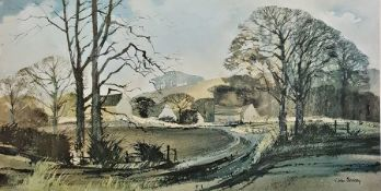 John Blockley Limited edition colour print, 155/500 Cotswold scene, signed in pencil lower right