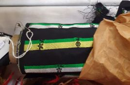 1950's vintage material, roll, black with green and white stripe with daisy detail in balck, paper