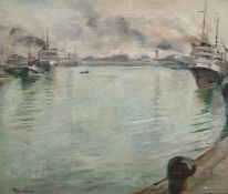 Rowland (20th century)  Oil on canvas  Harbour scene, possibly Ostend Harbour, signed lower left,