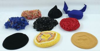 1950's and '60's hats - two petal hats, Simone Mirman blue silk pill box hat with trailing ribbon,