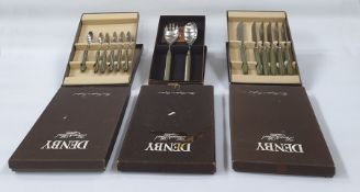 Denby flatware, stone and steel - 'Onyx' and 'Touchstone' , boxed