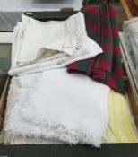 Various table linen, damask and others , table mats, napkins etc. ( 1 box)