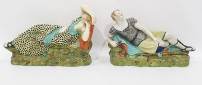 Pair 19th century pearlware pottery reclining figu