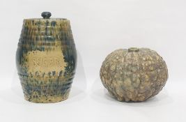 Studio stoneware vase in the form of a gourd, 19cm high and an earthenware sugar vase and cover,