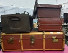 Canvas and wood-bound school trunkand two vintage leather suitcases(3)