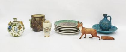 "Five 19th century Pratt-type earthenware plates ""The Hop Queen"" and others, variously with oakleaf"