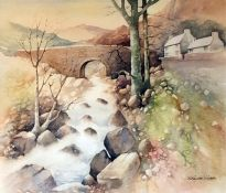 H. Royston Hudson Watercolour drawing Mountain Stream, signed H. Royston Hudson and framed
