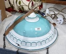 Turquoise and white ceramic plafonnier hanging shade