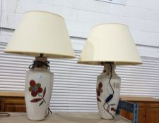 Pair ceramic bodied, cream ground and foliate decorated table lamps , with cream shades (2)