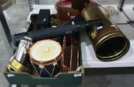 Drum-pattern ice box, a telescope, brassand other collectable items