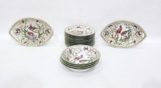 Continental porcelain dessert service decorated with pair Asiatic pheasants on flowering branches
