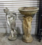 Reconstituted stone bird bath/planter with large bowl supported by The Three Graces, 81cm high and a