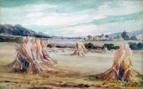 20th century W H Cockburn Watercolour drawing Sheaves of corn drying after harvest, with village