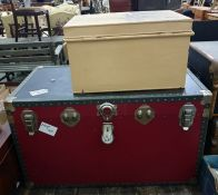 Large canvas and metal travelling trunk and a painted tin trunk (2)