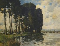 20th century Oil on canvas River scene with pine t