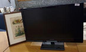 "Panasonic Viera flatscreen television, 23"" anda framed print of sea creatures and plants"