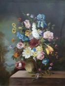 Unattributed Oil on board Still Life - Floral Study initialled lower right Jann (?) 79 x 59 cms and