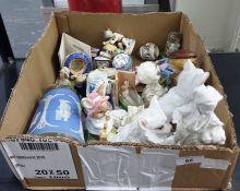 Beatrix Pottery 'Lady Mouse' figure, two porcelain pincushion half-dolls, Wedgwood blue stoneware