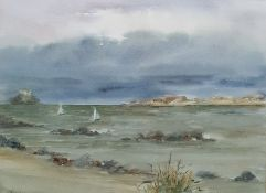 20th century Larkman Watercolour drawing Seascape showing sailing boats and island in the background