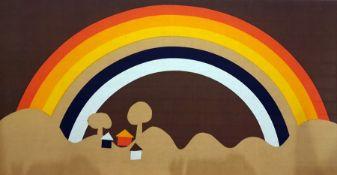 A modernist screenprint showing a rainbow against a landscape