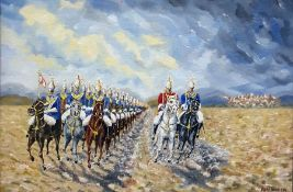 Oil on board Ron Richer Study of cavalry Oil on b