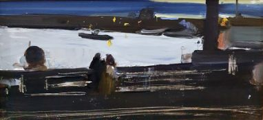 20th century oil on panel Twilight river scene with figures in foreground 22 x 45.5 cms