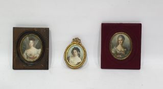 3 various portrait miniatures of ladies, variously framed