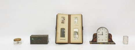 Victorian photograph album, two photograph frames, two early 20th century clocks and other