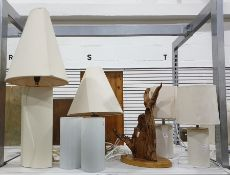 Pair of cream faux-suede covered table lamps, a pa