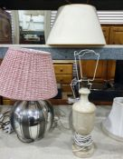 Three assorted table lamps including glass bodied lamp, with frosted finish with clear glass dimples