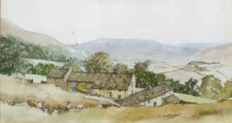 20th century Watercolour drawing Rural scene, cottages nestling in mountainous scenery, label from