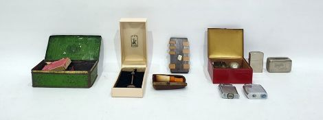 Quantity of collectablesto include amber cheroot holder, compass, pen nibs, cigarette lighters (one