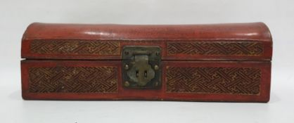Chinese red lacquered dome-top pillow box