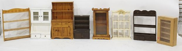 Eight various miniature shelves, cupboards, kitche