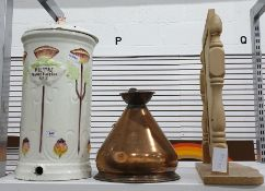 Tall ceramic water filter with Art Nouveau style d