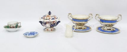 Pair of 19th century porcelain two-handled bowls a