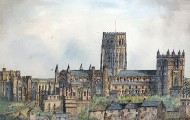 20th century Watercolour drawing. Cathedral 24 x 37 cms