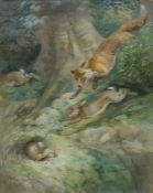 """Harry Dixon (1861-1942) Watercolour drawing """"A Run on the Bank"""", study of a fox chasing hares,"""