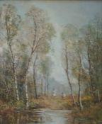 Pastel drawing Unattributed Woodland scene, silver