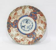 Japanese Imari charger with panels of kylin and flowers, underglaze blue decoration to the centre,