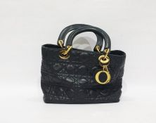 Christian Dior 'Lady Dior' navy blue 'Cannage' quilted lambskin leather handbag with gilt coloured