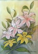 H. Royston Hudson Watercolour drawing Study of Lilies, signed H. Royston Hudson and framed