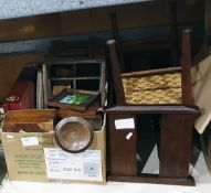 Assorted collectables including a magazine rack, a