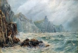 Oil on paper (?) Unattributed Stormy seas with seagulls flying from rocks 20 x 29cms