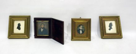 Pair miniature silhouette portraits and 2 portrait miniatures of gentlemen (4)